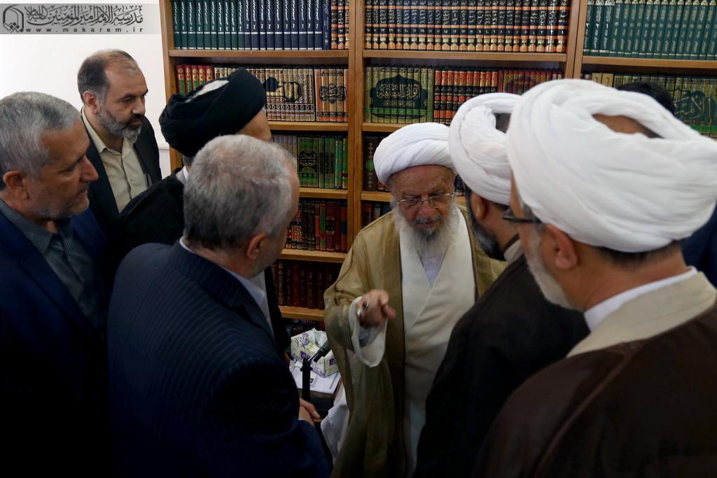 İslam Mədəniyyət və Maarif naziri Əli Cənnətinin Ayətullah əl-uzma Məkarim Şirazi ilə görüşü-07.